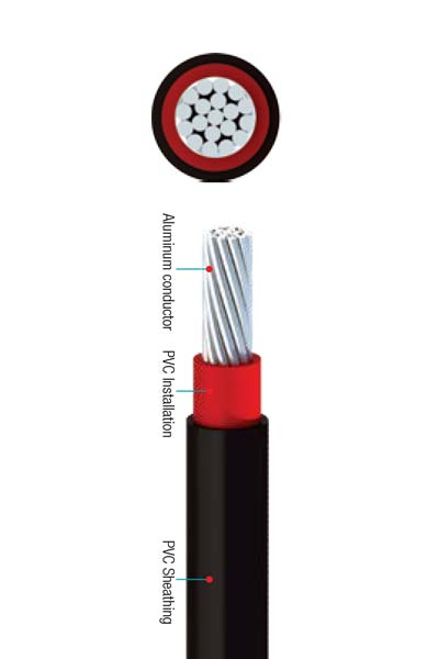 0.6/1 (1.2) Single Core with Stranded Aluminum Conductors, PVC insulated and PVC Sheathed