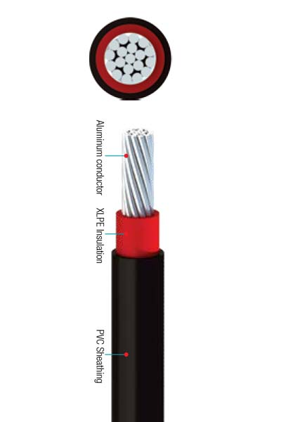 0.6/1 (1.2) Single Core with Stranded Aluminum Conductors, XLPE insulated and PVC Sheathed